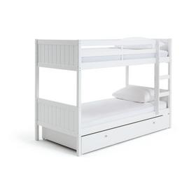 Argos Home Detachable White Bunk Bed, Drawer & 2 Mattresses