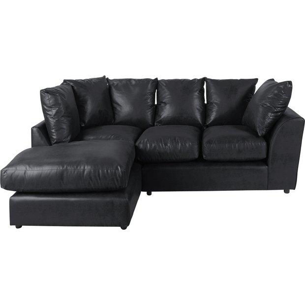 buy home new alfie leather effect left hand corner sofa. Black Bedroom Furniture Sets. Home Design Ideas