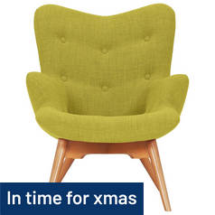 Hygena Angel Fabric Chair - Lime/Yellow