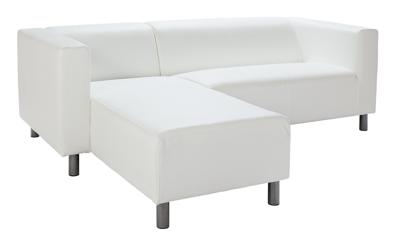 HOME Moda Compact Leather Eff Left Hand Corner Sofa   White