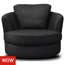Collection Milano Leather Swivel Chair - Black
