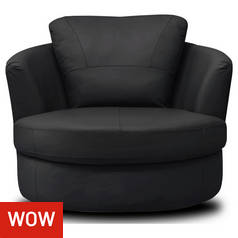 Argos Home Milano Leather Swivel Chair - Black