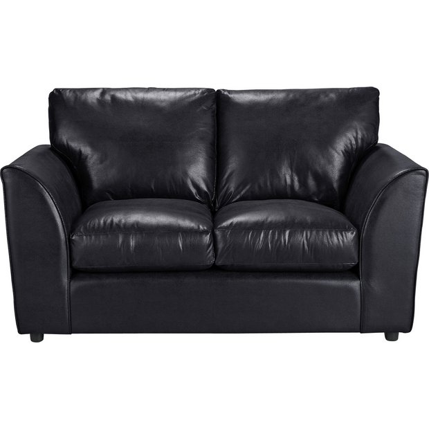 Buy home new alfie 2 seater leather effect sofa black at your online shop for Buy home furniture online uk