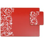 more details on HOME Damask Set of 4 Placemats and Coasters - Red.