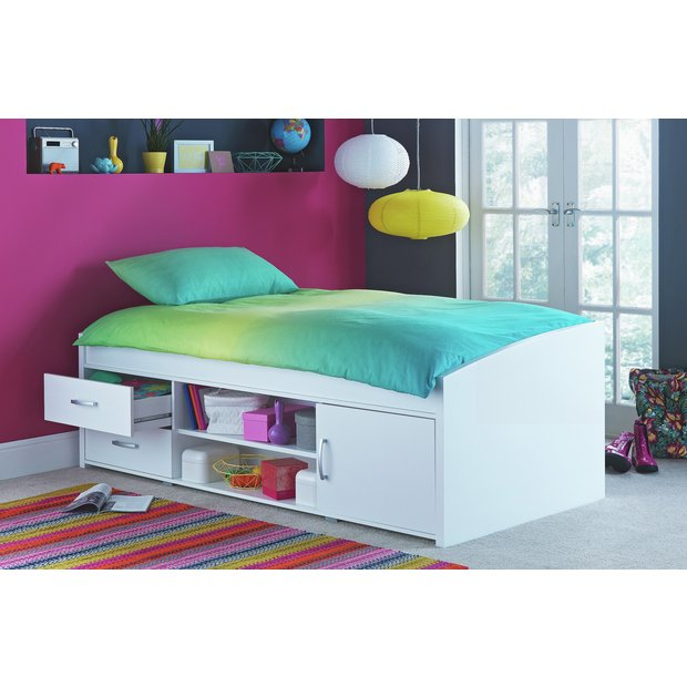 Buy home yanniek cabin bed with elliott mattress white for Furniture 123 cabin bed