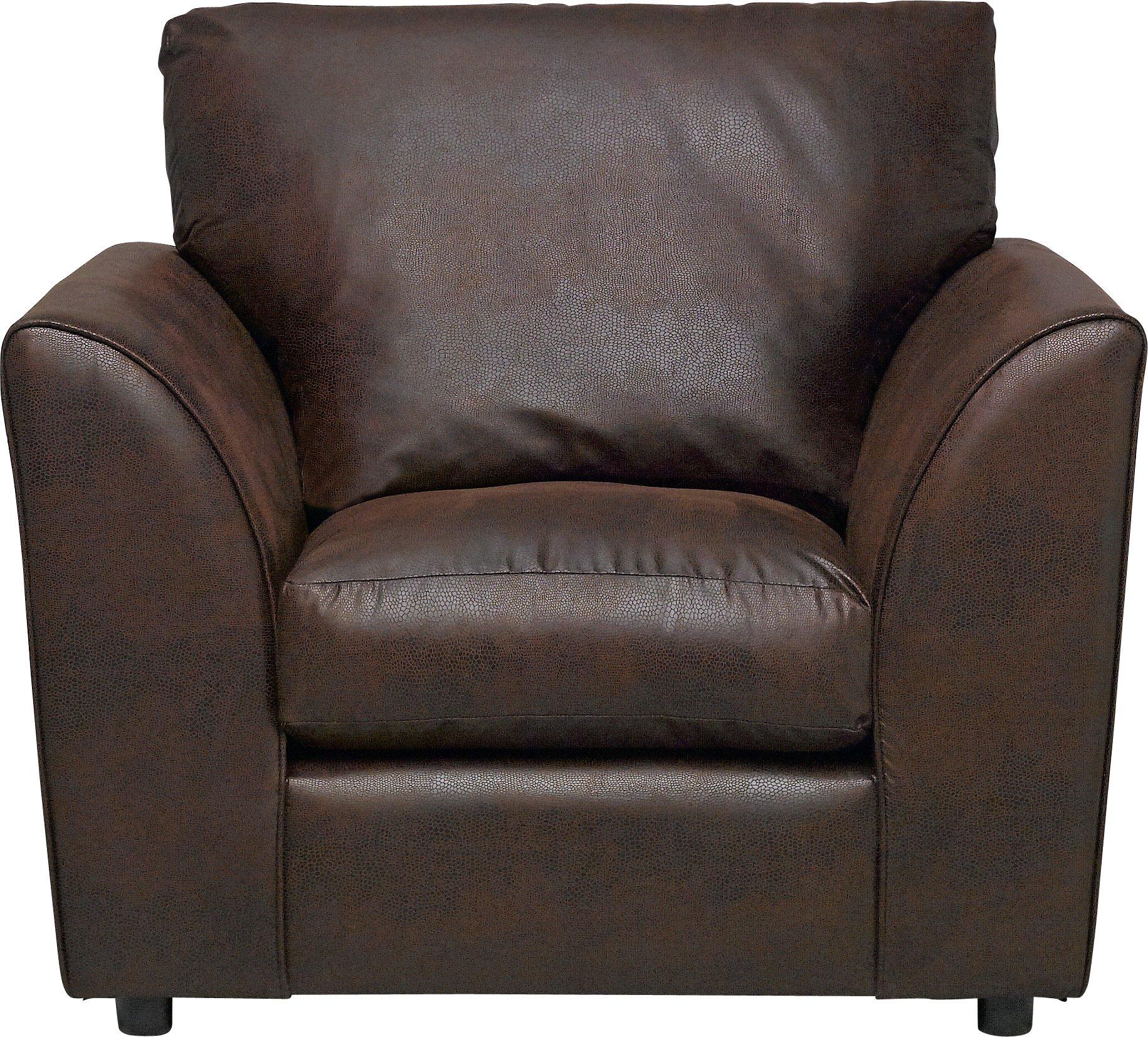 Argos Home New Alfie Leather Effect Chair   Dark Brown