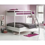 more details on HOME Wooden Triple Bunk Bed with Elliott Mattress - White.