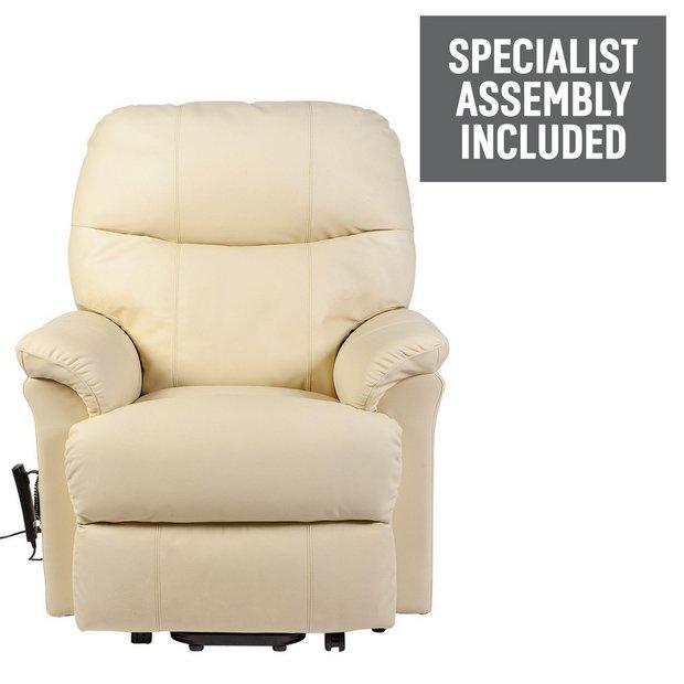 Buy lars riser recliner single motor leather chair cream for Single seats for living room