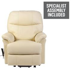 Lars Riser Recliner Single Motor Leather Chair - Cream