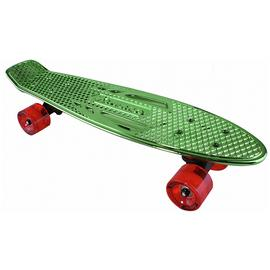 Karnage Retro Skateboard - Chrome and Green