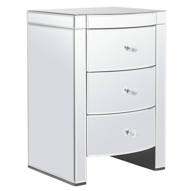 Buy Argos Home Canzano 3 Drawer Bedside Table Mirrored Tables
