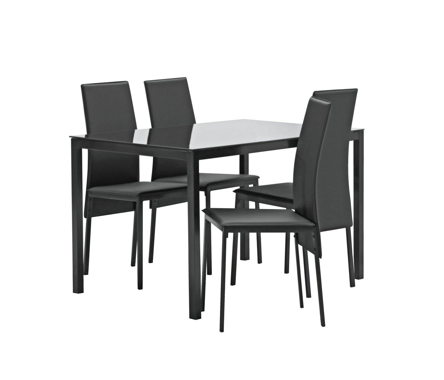 hygena lido glass dining table  u0026 4 chairs   black dining room furniture   argos  rh   argos co uk