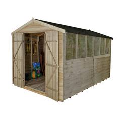 Forest Wooden 12 x 8ft Overlap Double Door Apex Shed Best Price, Cheapest Prices