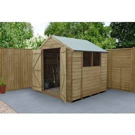 Forest Wooden 7 x 7ft Overlap Double Door Apex Shed Best Price, Cheapest Prices