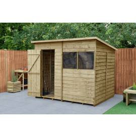 Forest Wooden 8 x 6ft Overlap Pent Shed Best Price, Cheapest Prices