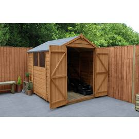 Forest Wooden 8 x 6ft Overlap Double Door Apex Shed Best Price, Cheapest Prices