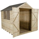 more details on Forest Overlap Apex 6 x 8ft Double Door Shed with Inst.
