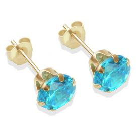 9ct Gold London Blue Cubic Zirconia Stud Earrings - 6mm