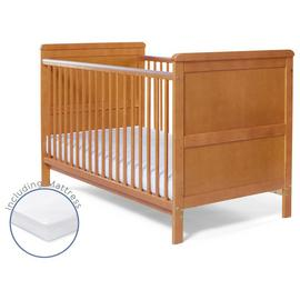 Baby Elegance Alex Cot Bed with Mattress - Pine