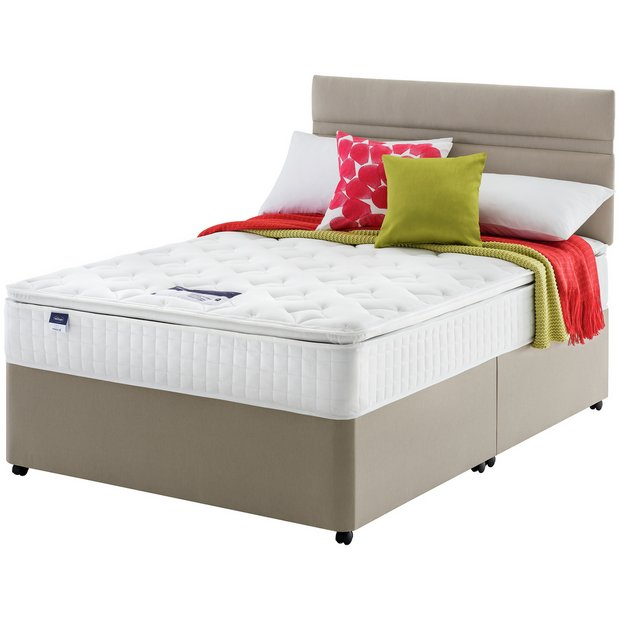 Buy silentnight stanfield pillowtop small double divan at for Small double divan bed and mattress