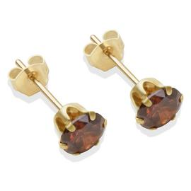 9ct Gold Brown Cubic Zirconia Stud Earrings - 5mm