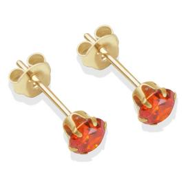 9ct Gold Orange Cubic Zirconia Stud Earrings - 4mm