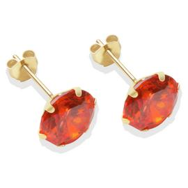 9ct Gold Orange Cubic Zirconia Stud Earrings - 8mm