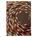 Trailling Leaves Rug - 160x230cm - Ochre and Red