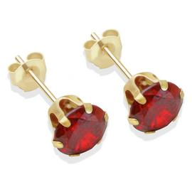 9ct Gold Red Cubic Zirconia Stud Earrings - 6mm