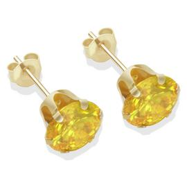 9ct Gold Citrine Colour Cubic Zirconia Stud Earrings - 7mm