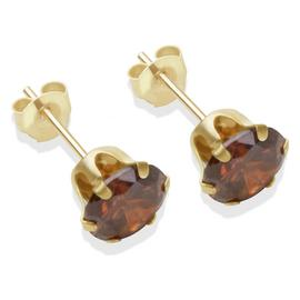9ct Gold Brown Cubic Zirconia Stud Earrings - 6mm