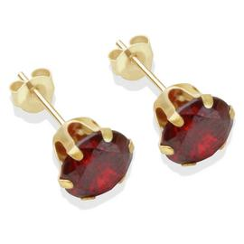 9ct Gold Garnet Coloured Cubic Zirconia Stud Earrings - 7mm