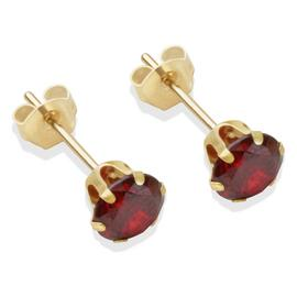 9ct Gold Garnet Coloured Cubic Zirconia Stud Earrings - 5mm