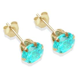 9ct Gold Aqua Coloured Cubic Zirconia Stud Earrings - 6mm