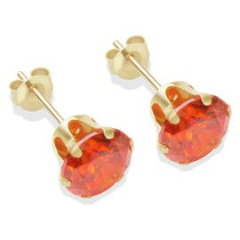 9ct Gold Orange Cubic Zirconia Stud Earrings - 7mm