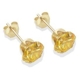 9ct Gold Citrine Coloured Cubic Zirconia Stud Earrings - 6mm