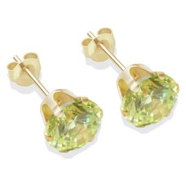 9ct Gold Light Peridot Coloured CZ Stud Earrings - 7mm