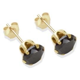 9ct Gold Black Cubic Zirconia Stud Earrings - 6mm