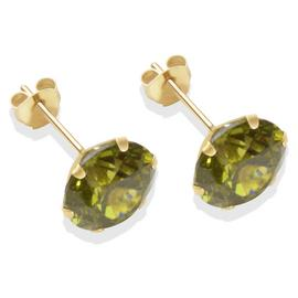 9ct Gold Dark Peridot Coloured CZ Stud Earrings - 8mm