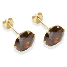9ct Gold Brown Cubic Zirconia Stud Earrings - 8mm