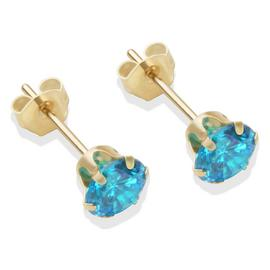 9ct Gold London Blue Cubic Zirconia Stud Earrings - 5mm