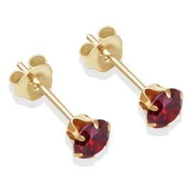 9ct Gold Garnet Coloured Cubic Zirconia Stud Earrings - 4mm