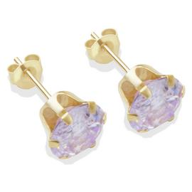 9ct Gold Lilac Cubic Zirconia Stud Earrings - 7mm
