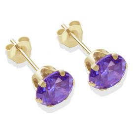 9ct Gold Amethyst Coloured CZ Stud Earrings - 6mm