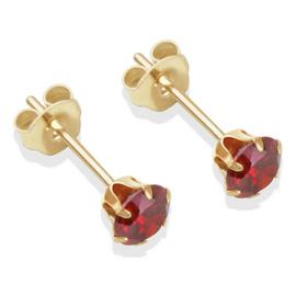 9ct Gold Red Cubic Zirconia Stud Earrings - 4mm