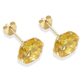 9ct Gold Citrine Coloured Cubic Zirconia Stud Earrings - 8mm