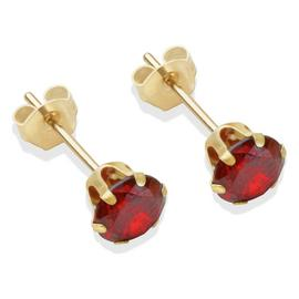 9ct Gold Red Cubic Zirconia Stud Earrings - 5mm
