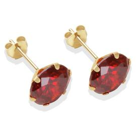 9ct Gold Garnet Coloured Cubic Zirconia Stud Earrings - 8mm