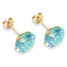 9ct Gold Aqua Coloured Cubic Zirconia Stud Earrings - 8mm