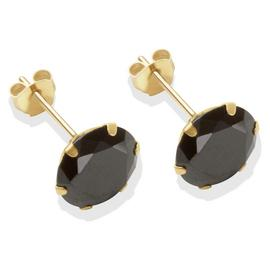 9ct Gold Black Cubic Zirconia Stud Earrings - 8mm
